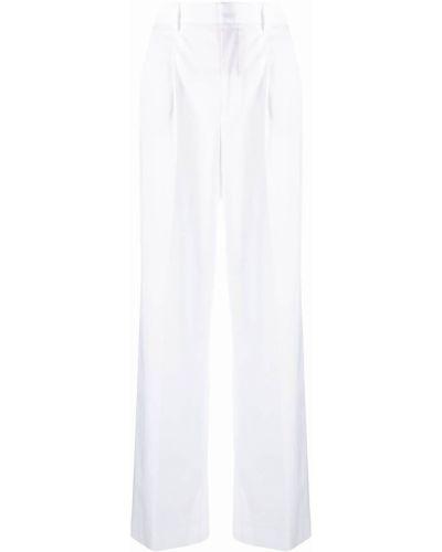 Хлопковые прямые белые брюки Pt01