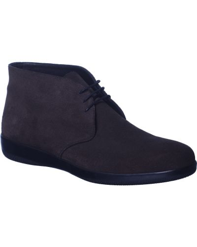 Кожаные ботинки - коричневые Prada