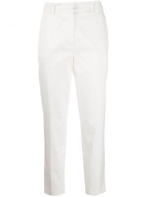 Белые укороченные брюки со складками узкого кроя из вискозы Emilio Pucci