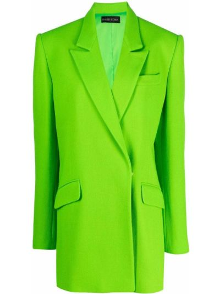 Шерстяной удлиненный пиджак двубортный с карманами David Koma