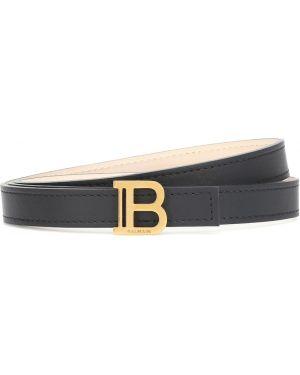 Кожаный черный ремень с поясом Balmain