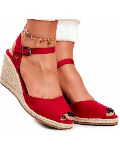Czerwone sandały na koturnie skorzane Big Star
