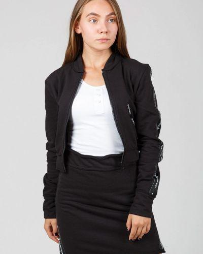 Черный вязаный юбочный костюм Street Style