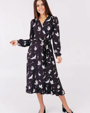 Платье с запахом черное Bessa