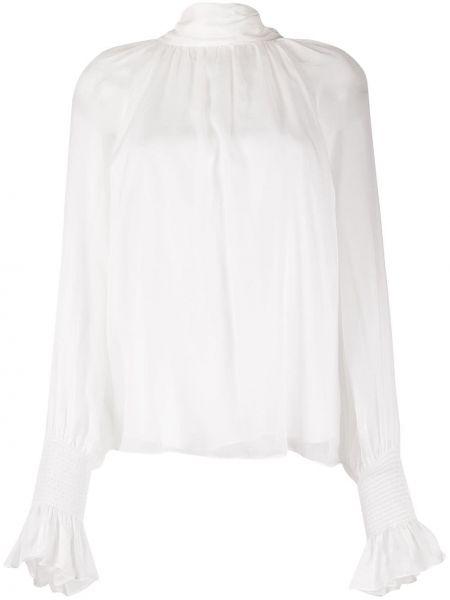 Biały wyposażone z rękawami bluzka z mankietami Temperley London