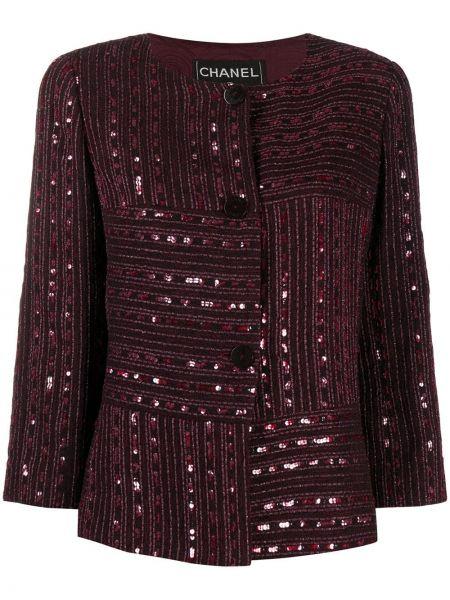 Ватная с рукавами красная длинная куртка Chanel Pre-owned
