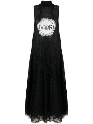 Черное платье в горошек без рукавов Viktor & Rolf