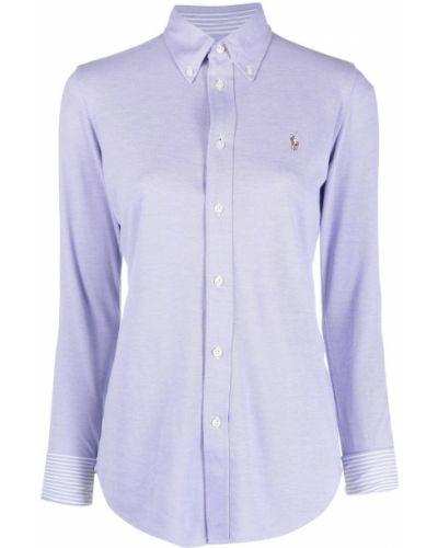 Хлопковая рубашка с длинными рукавами с воротником Polo Ralph Lauren