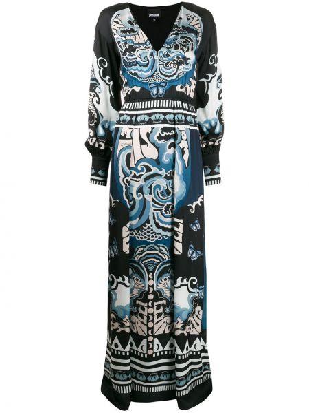 Черное платье макси с V-образным вырезом из вискозы Just Cavalli