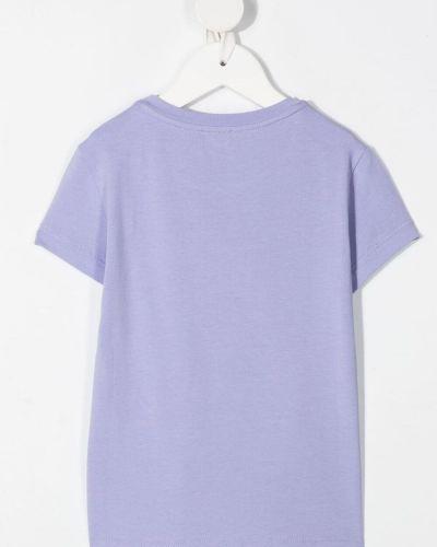 Хлопковая розовая прямая футболка Elisabetta Franchi La Mia Bambina