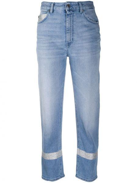Прямые укороченные джинсы с высокой посадкой с вышивкой Just Cavalli