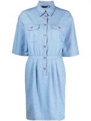 Платье мини короткое - синее Love Moschino