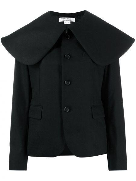Шерстяное черное длинное пальто с карманами Comme Des Garçons Comme Des Garçons