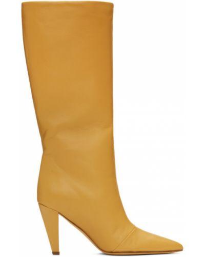 Żółty buty na pięcie z prawdziwej skóry w połowie kolana prążkowany Maryam Nassir Zadeh