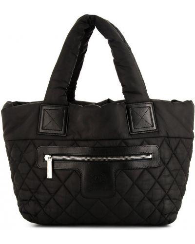 Стеганая черная кожаная сумка с ручками Chanel Pre-owned