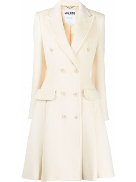 Шерстяное длинное пальто двубортное на пуговицах Moschino