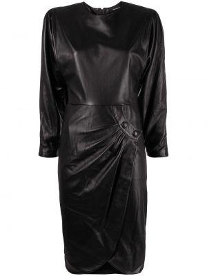 Кожаное черное платье макси с длинными рукавами Isabel Marant
