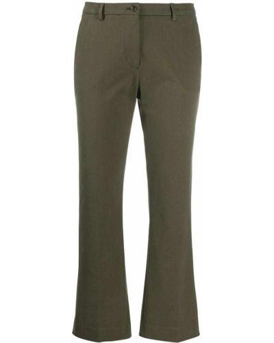 Хлопковые синие расклешенные укороченные брюки на крючках Pt01