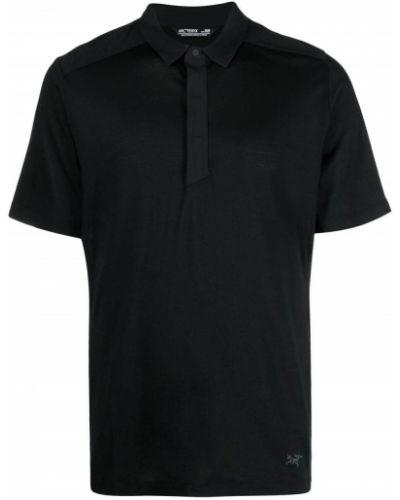 Czarna koszula krótki rękaw z haftem Arcteryx