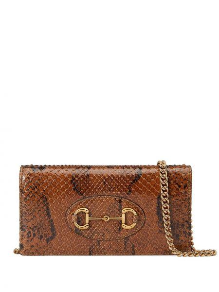 Złoty brązowy portfel Gucci
