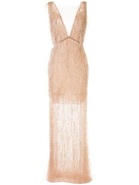 Розовое платье без рукавов Marchesa
