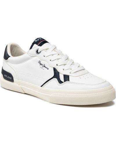 Półbuty skórzane casual - białe Pepe Jeans