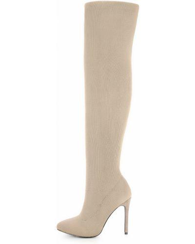 Kozaki za kolano na szpilce - beżowe Primamoda
