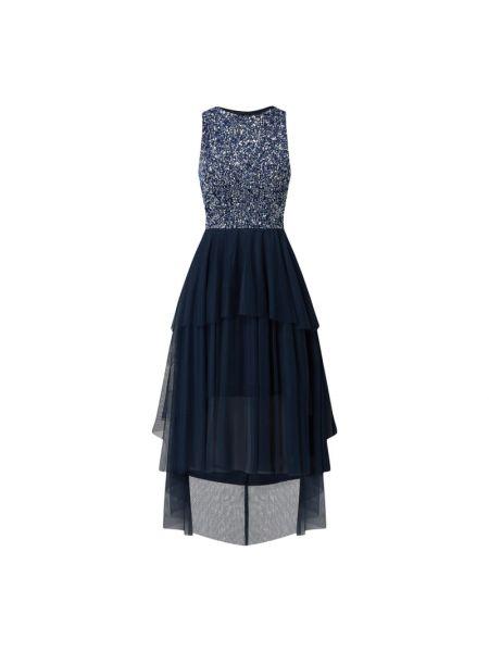 Sukienka koronkowa z cekinami - niebieska Lace & Beads