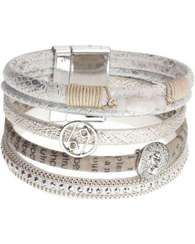 Кожаный браслет с камнями серебряный Evora