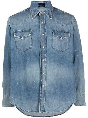 Джинсовая рубашка длинная - синяя R13