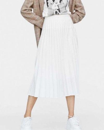 Плиссированная юбка весенняя белая Stradivarius