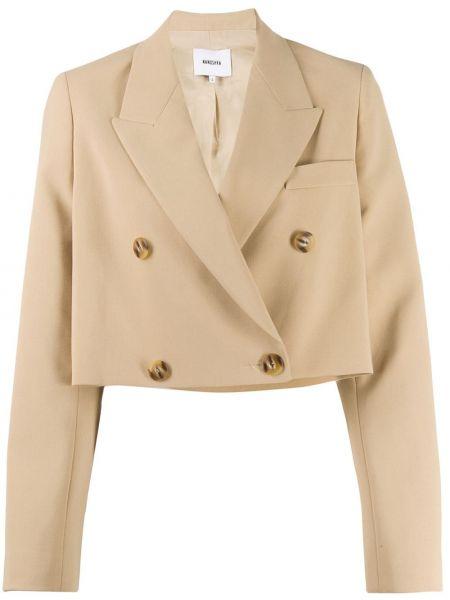Хлопковый пиджак двубортный с карманами Nanushka
