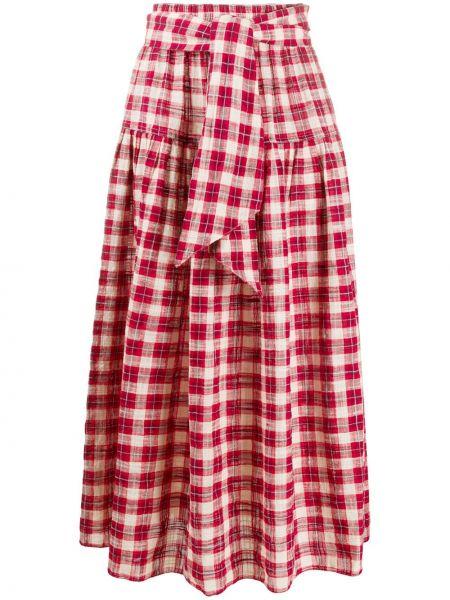 Красная прямая юбка миди в рубчик с поясом The Great.