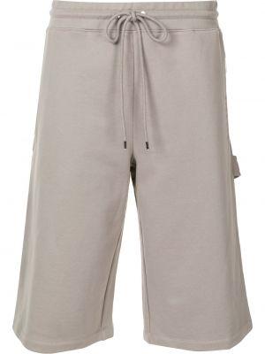 Прямые серые хлопковые шорты Dion Lee