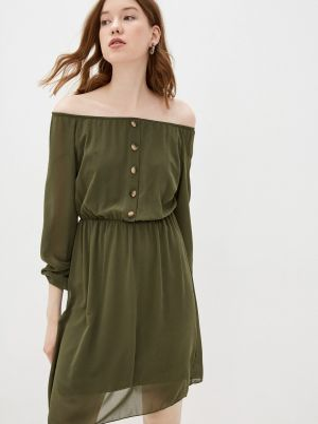 Платье с открытыми плечами зеленый Haily's