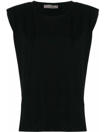 Хлопковая черная футболка круглая с вырезом Laneus