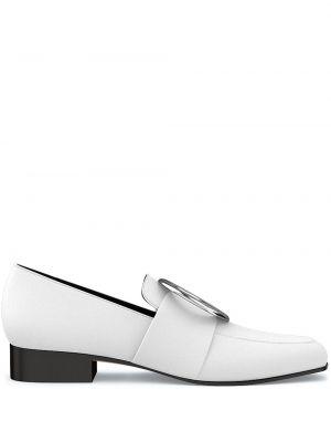 Białe loafers skorzane z haftem Dorateymur