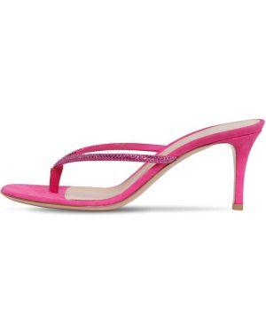 Кожаные розовые босоножки на каблуке Gianvito Rossi