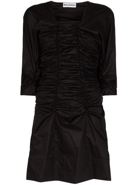 Платье мини со складками черное Molly Goddard