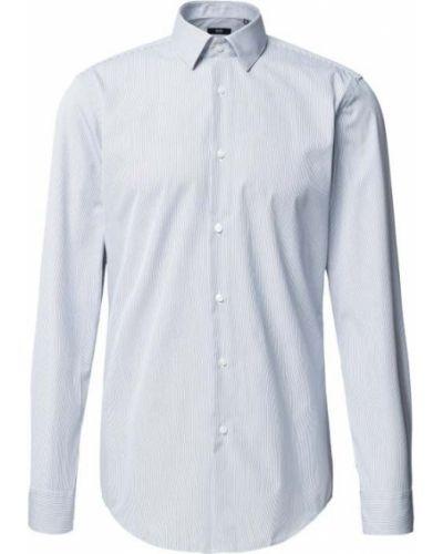 Niebieska koszula slim bawełniana w paski Boss