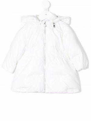 Biały długi płaszcz z kapturem Emporio Armani Kids
