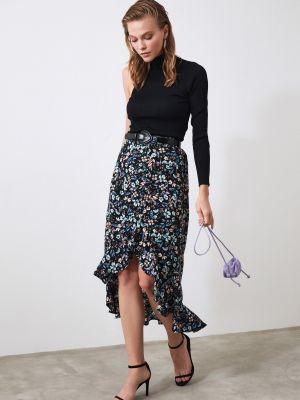 Fioletowa spódnica asymetryczna z wiskozy Trendyol