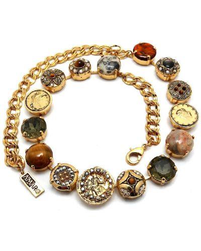 Коричневое ожерелье с камнями Amaro