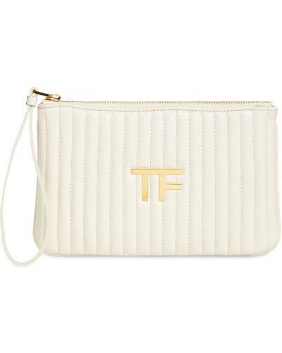 Белый кожаный клатч на молнии Tom Ford