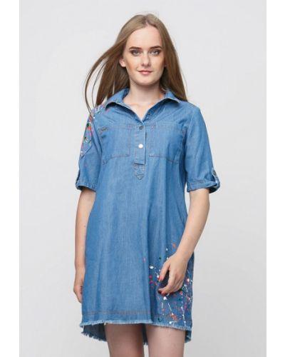 Джинсовое платье осеннее синее Dasti