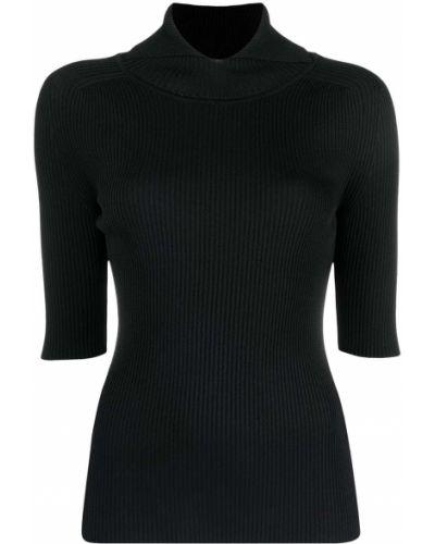 Czarny trykotowy z rękawami sweter z okrągłym dekoltem Erika Cavallini