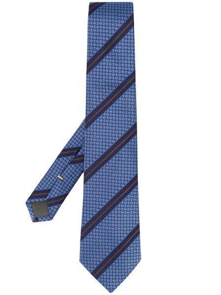 Шелковый синий галстук с рисунком Canali