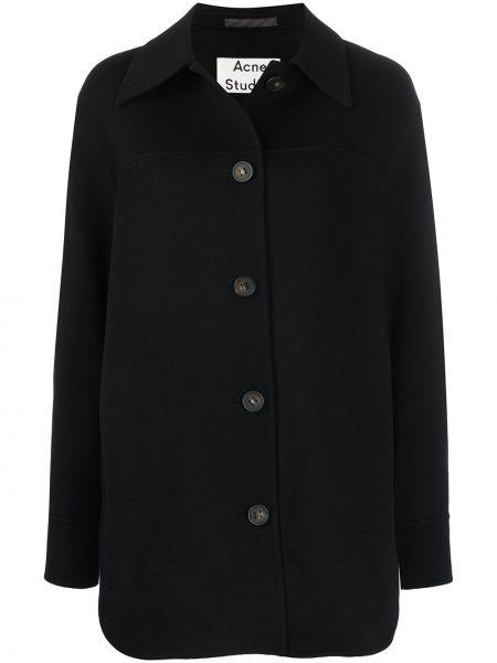 Черная рубашка с воротником свободного кроя на пуговицах Acne Studios