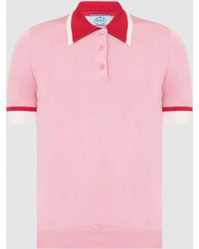 Шелковая розовая футболка Prada