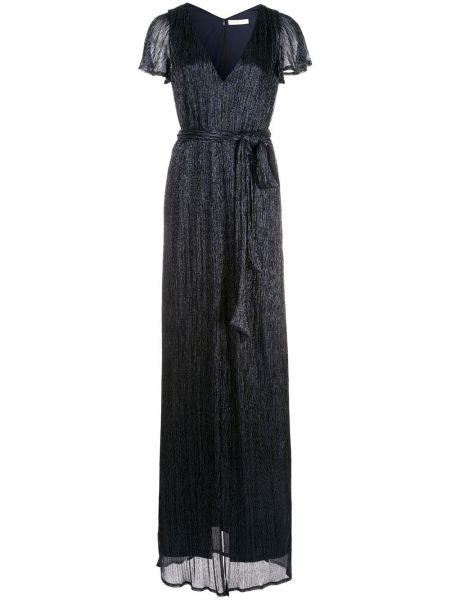 Синее платье мини с V-образным вырезом на молнии с короткими рукавами Halston Heritage